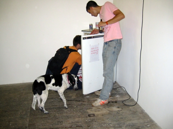 24/7 ― Famous Artist Dog (2002) (left), 24/7 ― Fridge With Beers (2002) (right)
