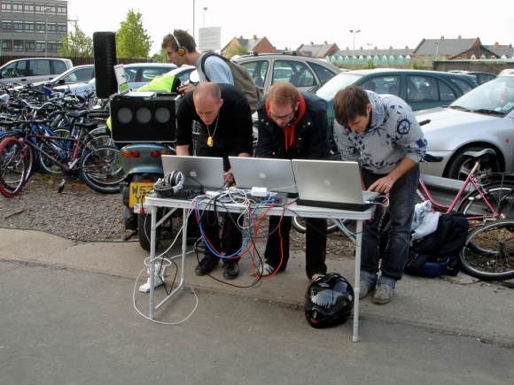 Interdisco-Live-Squad playing live opposite the Cambridge train station